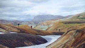 Группа в составе hikers в горах Стоковая Фотография RF