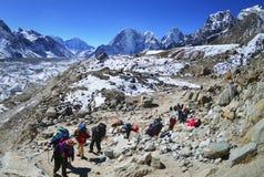 Группа в составе hikers с рюкзаками на треке в Гималаях Стоковое Фото