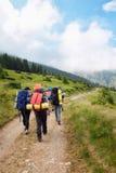 Группа в составе hikers с рюкзаками Стоковые Фотографии RF