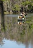 Группа в составе paddlers canoeing на заводи гонта в Kissimmee, Florid стоковое фото