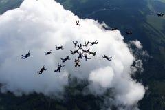 Группа в составе skydivers над белым большим облаком стоковая фотография rf