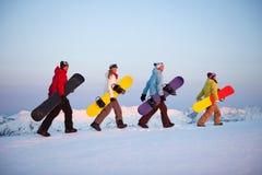 Группа в составе snowboarders na górze горы Стоковые Изображения