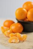 Группа в составе tangerines на деревянном столе Стоковое фото RF
