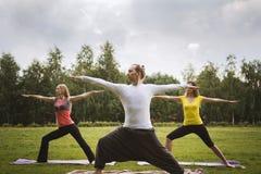 Группа в составе yogis в грациозно представлении во время внешних преследований на траве Стоковое Фото