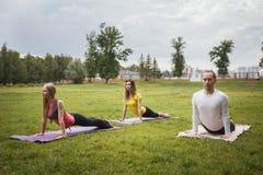 Группа в составе yogis в грациозно представлении во время внешних преследований Стоковая Фотография RF