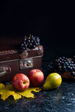 Группа голубых виноградин и зрелых плодоовощей на темной мраморной предпосылке Стоковые Изображения RF