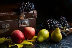Группа голубых виноградин и зрелых плодоовощей на темной мраморной предпосылке Стоковые Фотографии RF