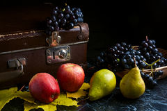 Группа голубых виноградин и зрелых плодоовощей на темной мраморной предпосылке Стоковое Изображение