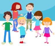 Группа детей и подростков мультфильма иллюстрация вектора
