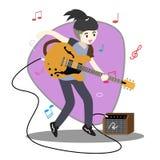 Группа джаза музыкантов, гитара игры, Saxophoneist; трубач; гитарист, барабанщик, сольный гитарист, джаз-бэнд басиста Illus векто бесплатная иллюстрация