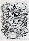 Группа изверга doodle битника нарисованная рукой шальная, рисуя Стоковая Фотография