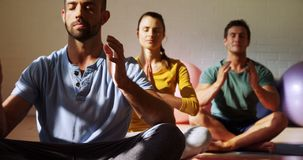 Группа людей делая йогу 4k акции видеоматериалы
