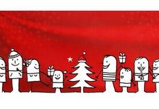 Группа людей и рождество шаржа иллюстрация штока
