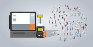 Группа людей около работников занятия терминального банкомата pos различных смешивает гонку работники толпятся электронная оплата бесплатная иллюстрация