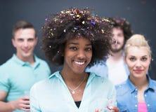 Группа людей партии Confetti многонациональная стоковое фото rf