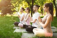 Группа людей размышляя в парке Стоковая Фотография RF