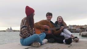 Группа молодых друзей, сидящих на краю пристани и поющих песни у гитары видеоматериал