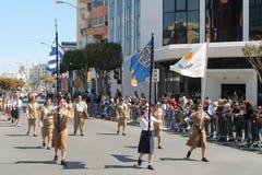 Группа разведчика принимая участие в парад стоковая фотография rf