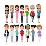 Группа разнообразия этничности женщин группы иллюстрация штока