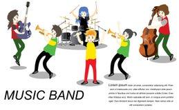 Группа регги ska музыкантов, гитара игры, певица, гитарист, барабанщик, сольный гитарист, басист, диапазон Ska trumpetist Illustr бесплатная иллюстрация