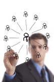 Группа сети чертежа бизнесмена стоковое изображение