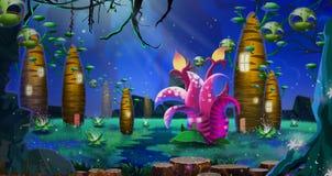 Группа странных домов на дереве внутри глубокого леса иллюстрация вектора