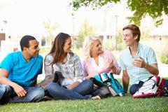 Группа студентов outdoors стоковая фотография rf