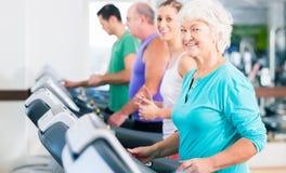 Группа с старшими людьми на третбане в спортзале Стоковые Фото
