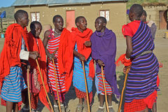 Группа танц-Танзания Massai, Африка Стоковые Изображения RF