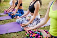 Группа фитнеса делая йогу в парке на солнечный день Стоковое фото RF