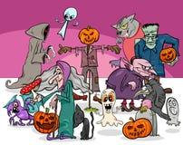 Группа характеров шаржа праздника хеллоуина страшная иллюстрация штока