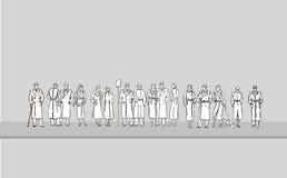 Группа людей на автобусной остановке иллюстрация штока