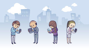 Группа людей с умными телефонами Стоковые Изображения RF