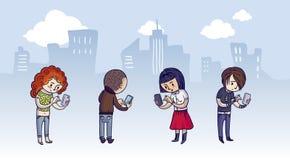 Группа людей с умными телефонами Стоковое Фото