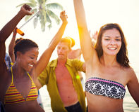 Группа людей Partying на тропическом пляже Стоковые Фотографии RF