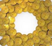 группа 3D Bitcoins изолированная на предпосылке иллюстрация штока