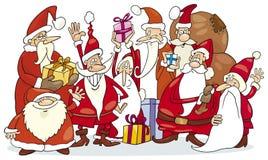 группа santa claus Стоковое Фото