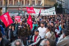 Группы члена левой партии и анархиста ища упразднение новых максимальных тюрем безопасностью Греция стоковое изображение rf