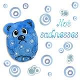 Грустные животные мультфильма медведя Чертеж в акварели и графический стиль для дизайна печатей, предпосылок, карт, приглашений иллюстрация вектора