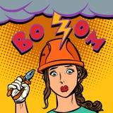 Грустный профессионал электрика женщины, забастовка без предупреждения, искра электрическая иллюстрация вектора