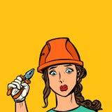 Грустный профессионал электрика женщины бесплатная иллюстрация