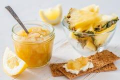 Груша и варенье и ингридиенты лимона Стоковое Изображение RF