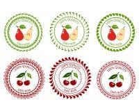 Груша и вишня логотипа Стоковая Фотография