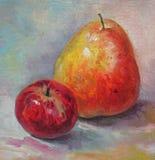 Груша и яблоко Стоковая Фотография