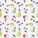 груша картины вишни яблока безшовная Стоковое Изображение RF
