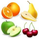 Груша, яблоко, апельсин Вишня Комплект плодоовощ реалистический Стоковое фото RF