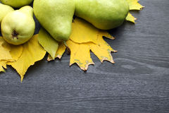 Груши и листья осени Стоковые Фото