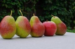 Груши и яблоко на таблице Стоковые Фотографии RF
