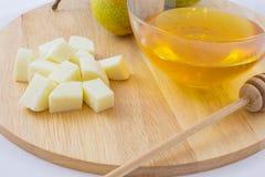 Груши, сыр и мед Стоковое Фото