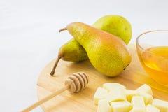 Груши, сыр и мед Стоковая Фотография RF